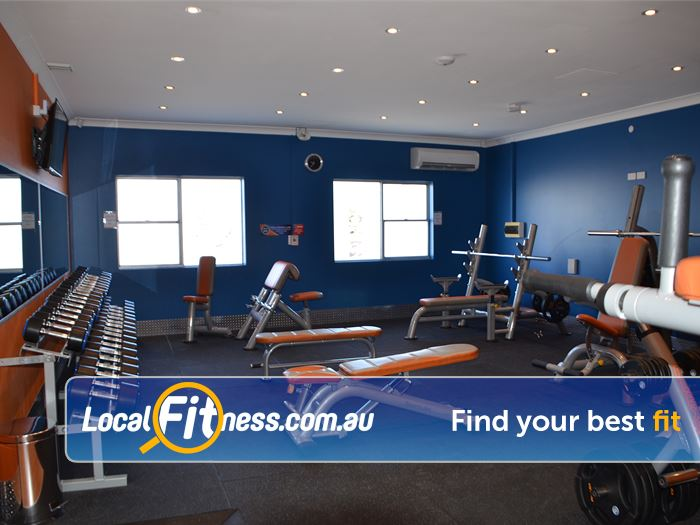 Plus Fitness 24/7 Gym Ettalong Beach  | Free-weights include dumbbells, barbells, benches, and more.