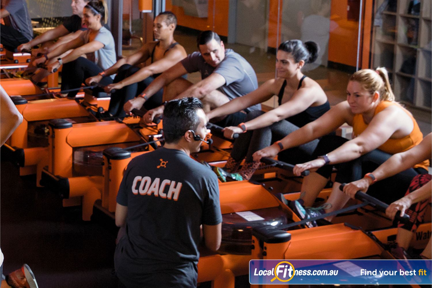 Orangetheory Fitness Near Hawthorn East Group workout with the attention of an experienced personal coach.