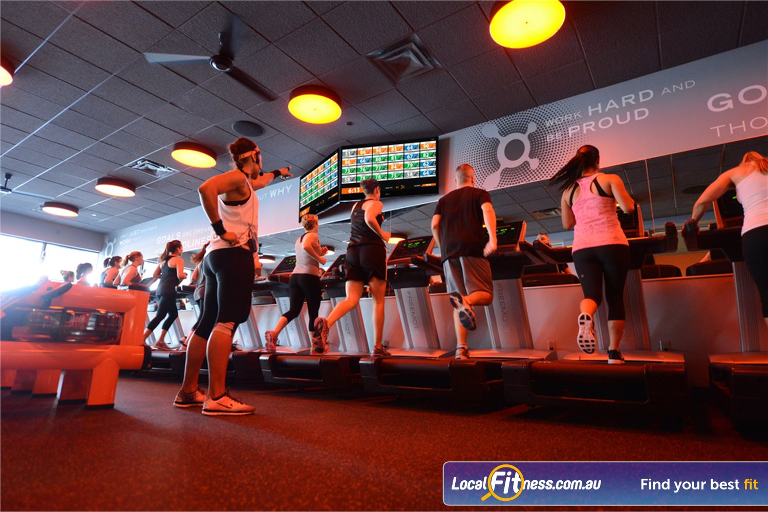 Orangetheory Fitness Hawthorn OTconnect delivers your heart rate data and performance metrics in real-time on screen.
