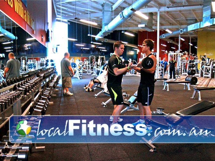 Ontic Health & Fitness Springwood Fully equipped free-weights area for strength training.