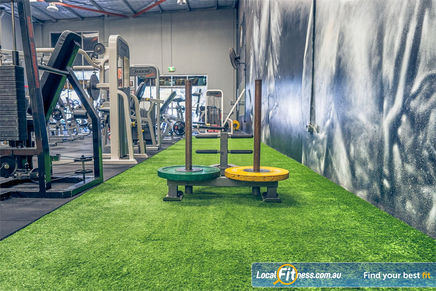 Culture 24:7 Near Greenwood The indoor sled track in our Wanneroo HIIT gym area.