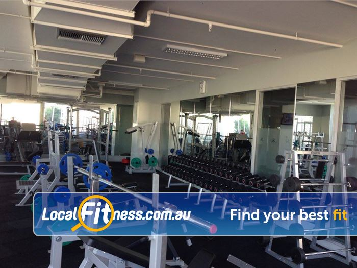 Mentone Fitness Centre Near Heatherton Fully equipped free-weights area.