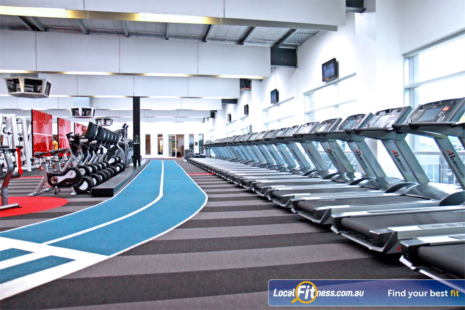 Genesis Fitness Clubs Near Braybrook North Rows of the latest Healthstream treadmills and Expresso cycle bikes.