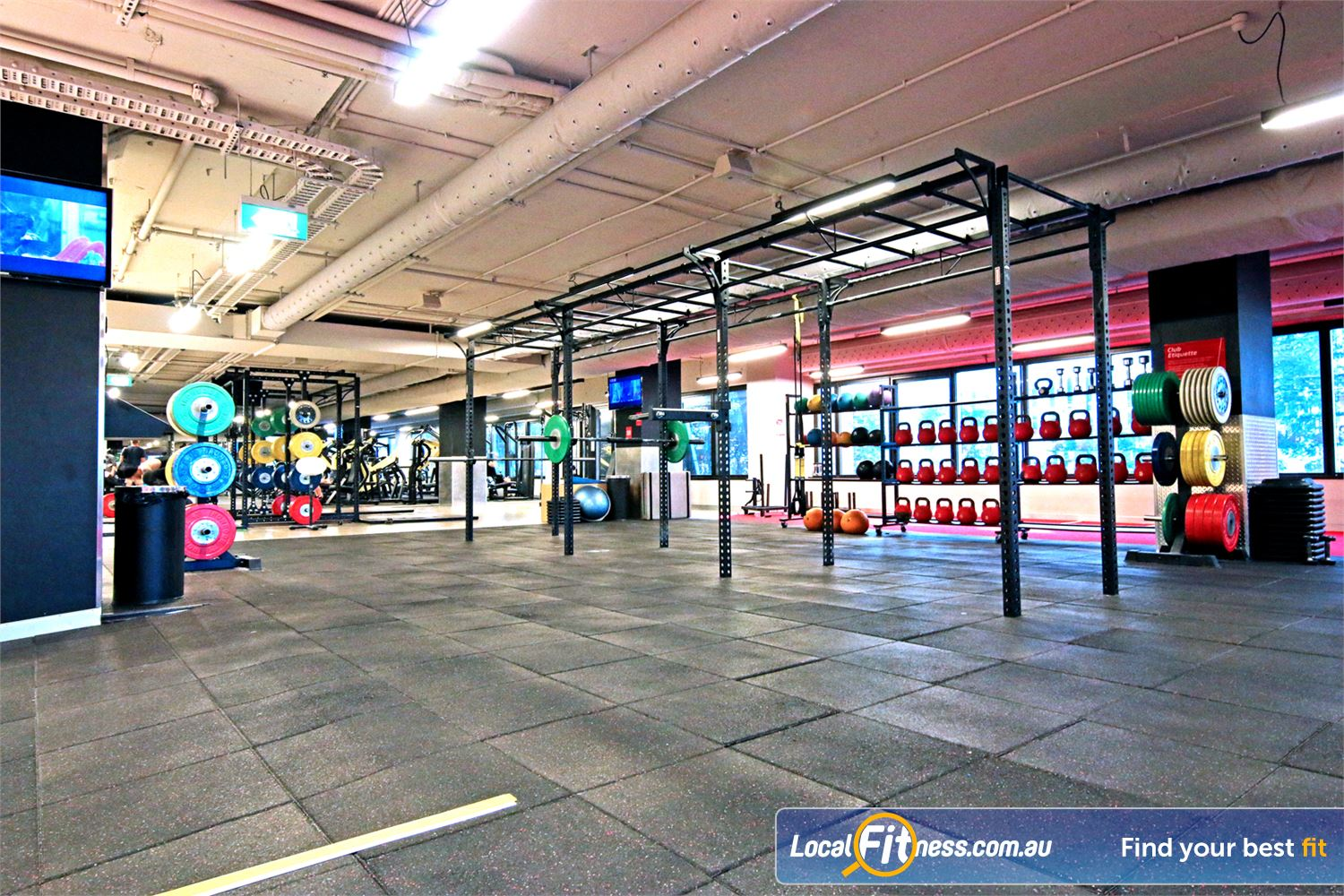 Fitness First Elizabeth St Near City East The functional training rig in our Brisbane gym.