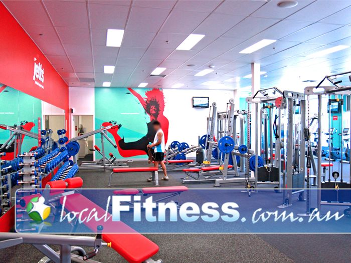 Jetts Fitness Lilydale A fully equipped Lilydale gym free-weights area from the Calgym Synergy strength line.