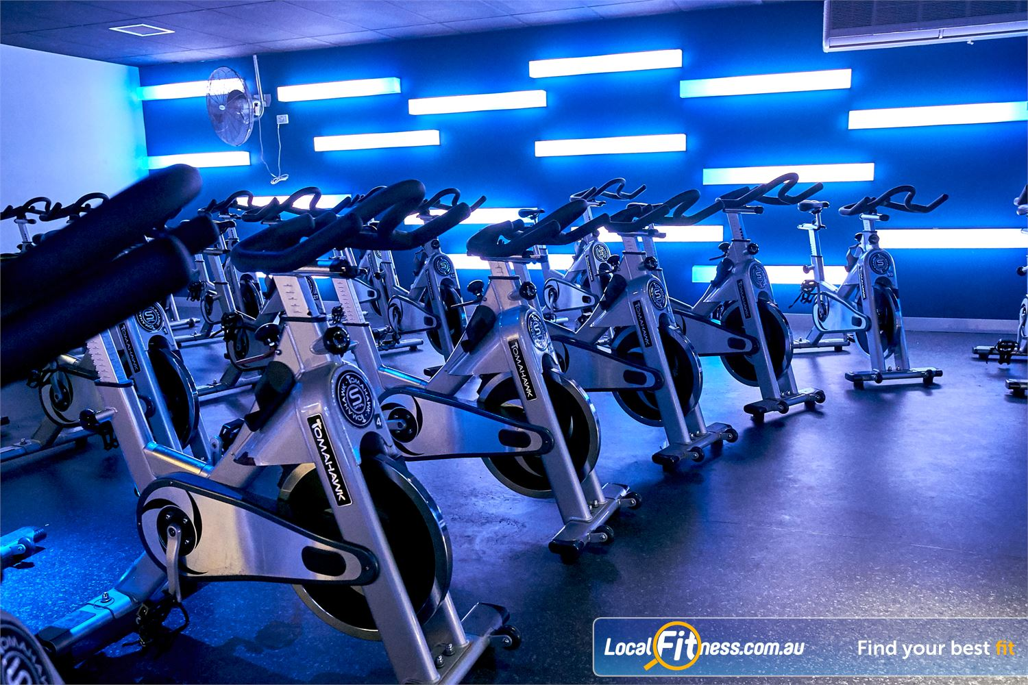 Goodlife Health Clubs Cross Roads Near Hawthorn Utilise top of the range Tomahawk S series Spinning Cycle Bikes.