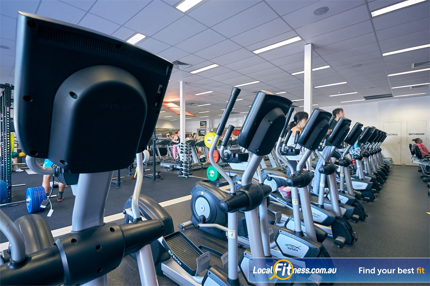 Goodlife Health Clubs Cross Roads Westbourne Park The fully equipped cardio area at Goodlife Cross Roads gym.