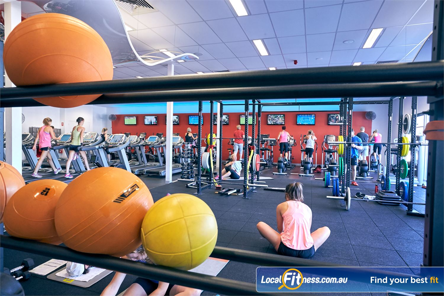 Goodlife Health Clubs Cross Roads Near Hawthorn Fully equipped functional training area at Goodlife Cross Roads gym.