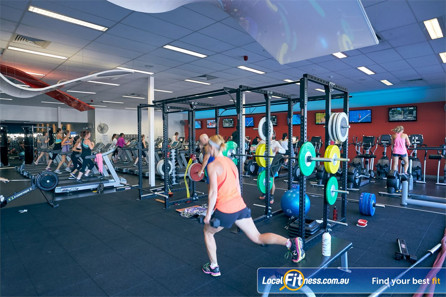 Goodlife Health Clubs Cross Roads Near Unley Park Our hi-performance strength matrix in our functional training area.