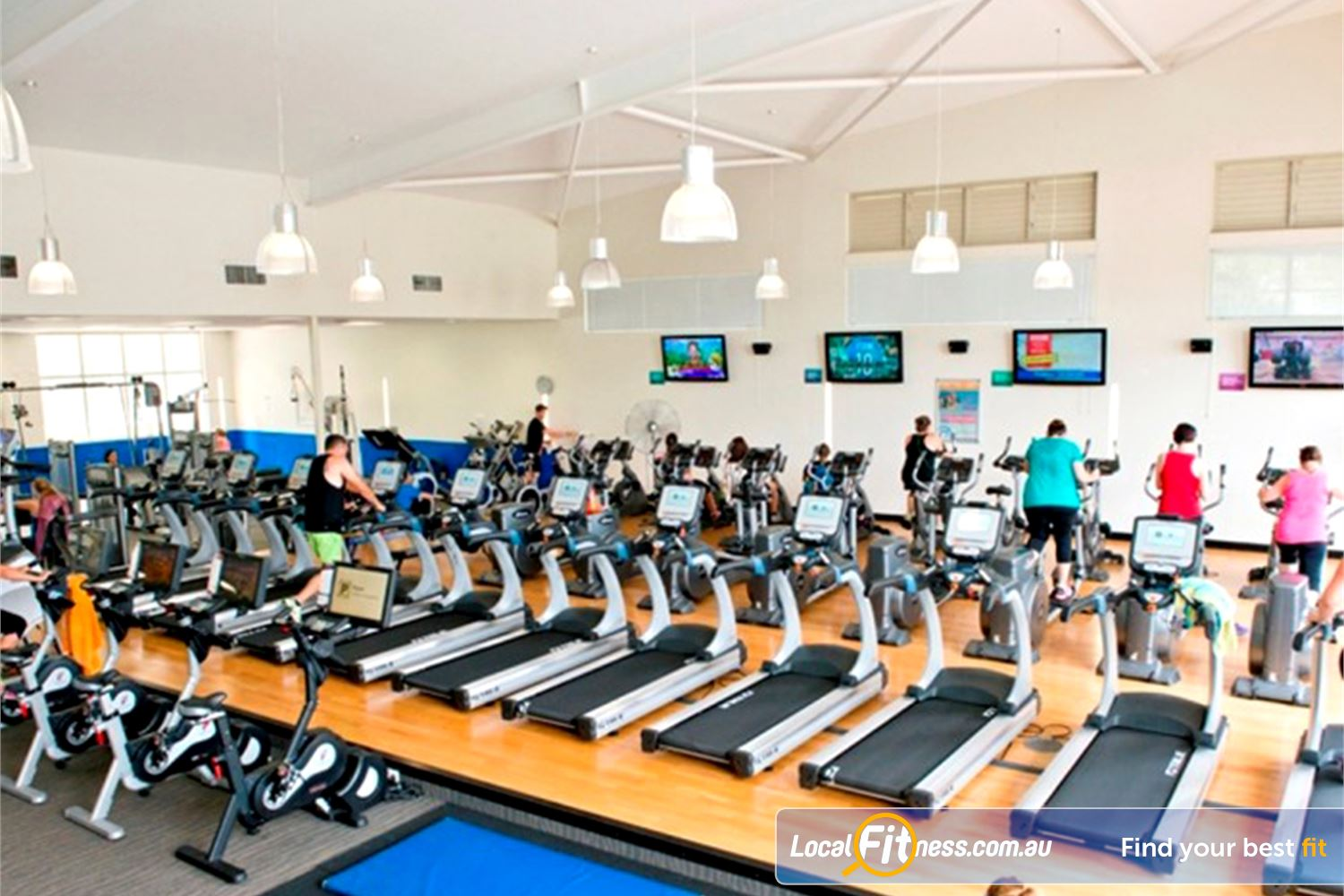 Albany Creek Leisure Centre Near Bunya The spacious cardio area with natural lighting.