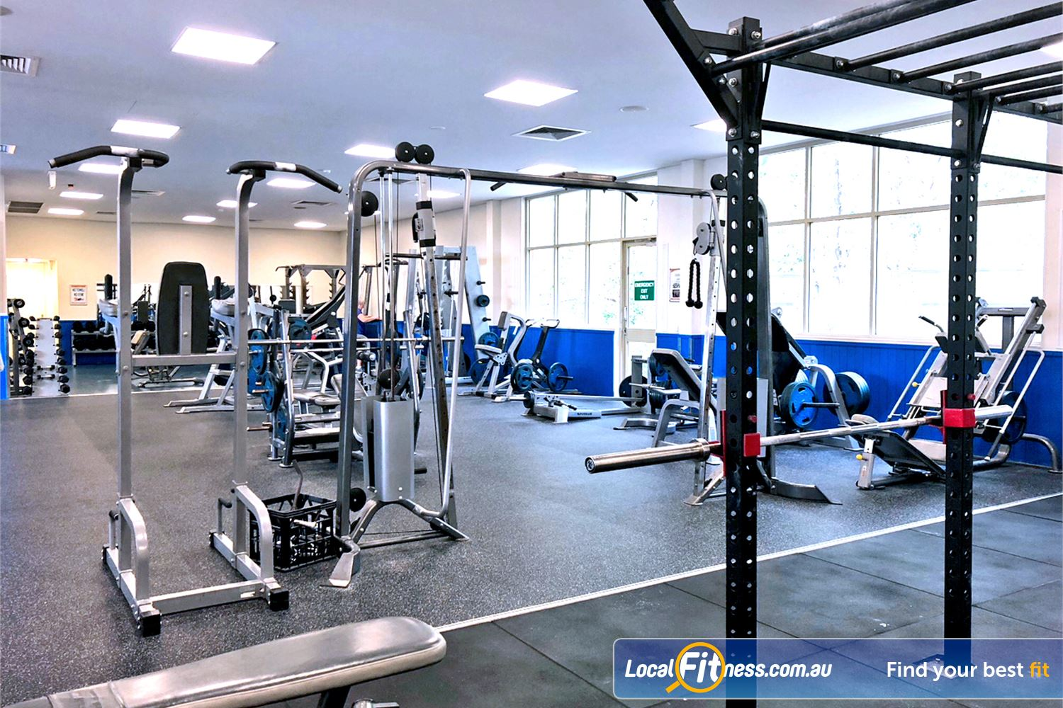 Albany Creek Leisure Centre Near Bunya The fully equipped free-weights and strength area.