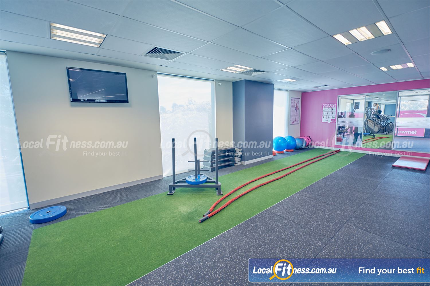 Fernwood Fitness Near Derrimut The dedicated functional training area with indoor sled track.