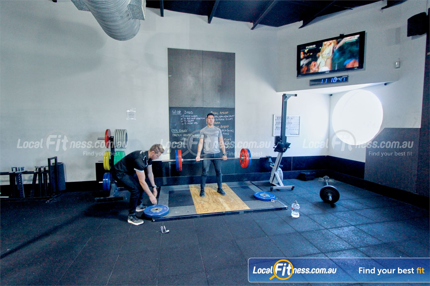 Goodlife Health Clubs Near Lilydale Heavy duty Olympic platforms and bumper plates.