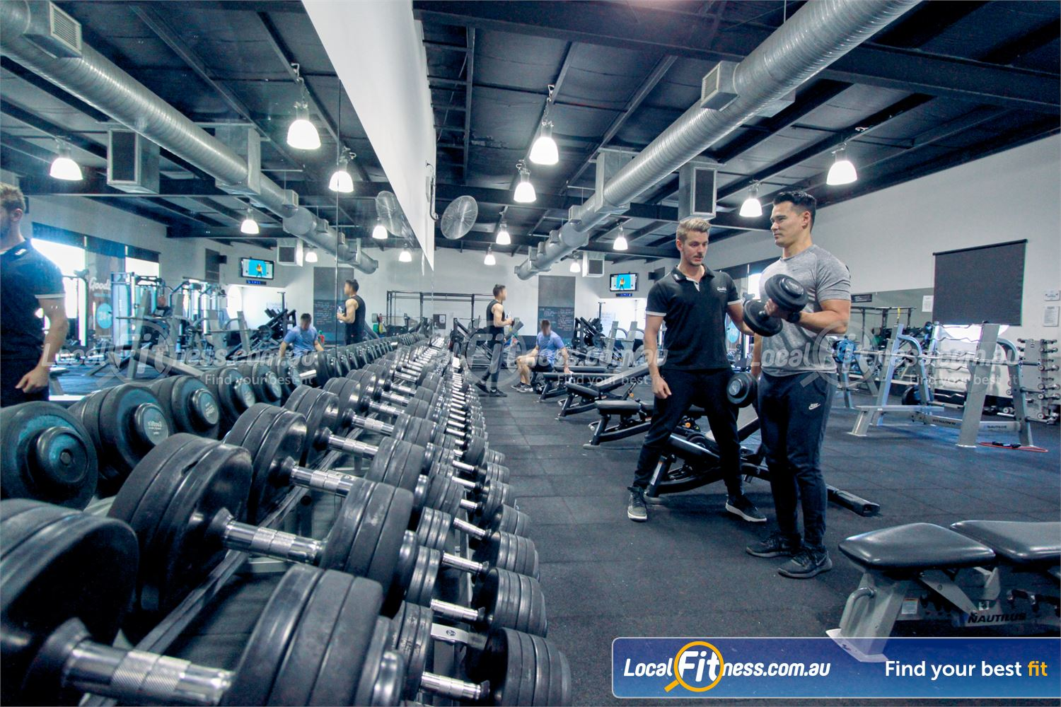 Goodlife Health Clubs Near Mount Evelyn Our Mooroolbark gym includes a full range of dumbbells.