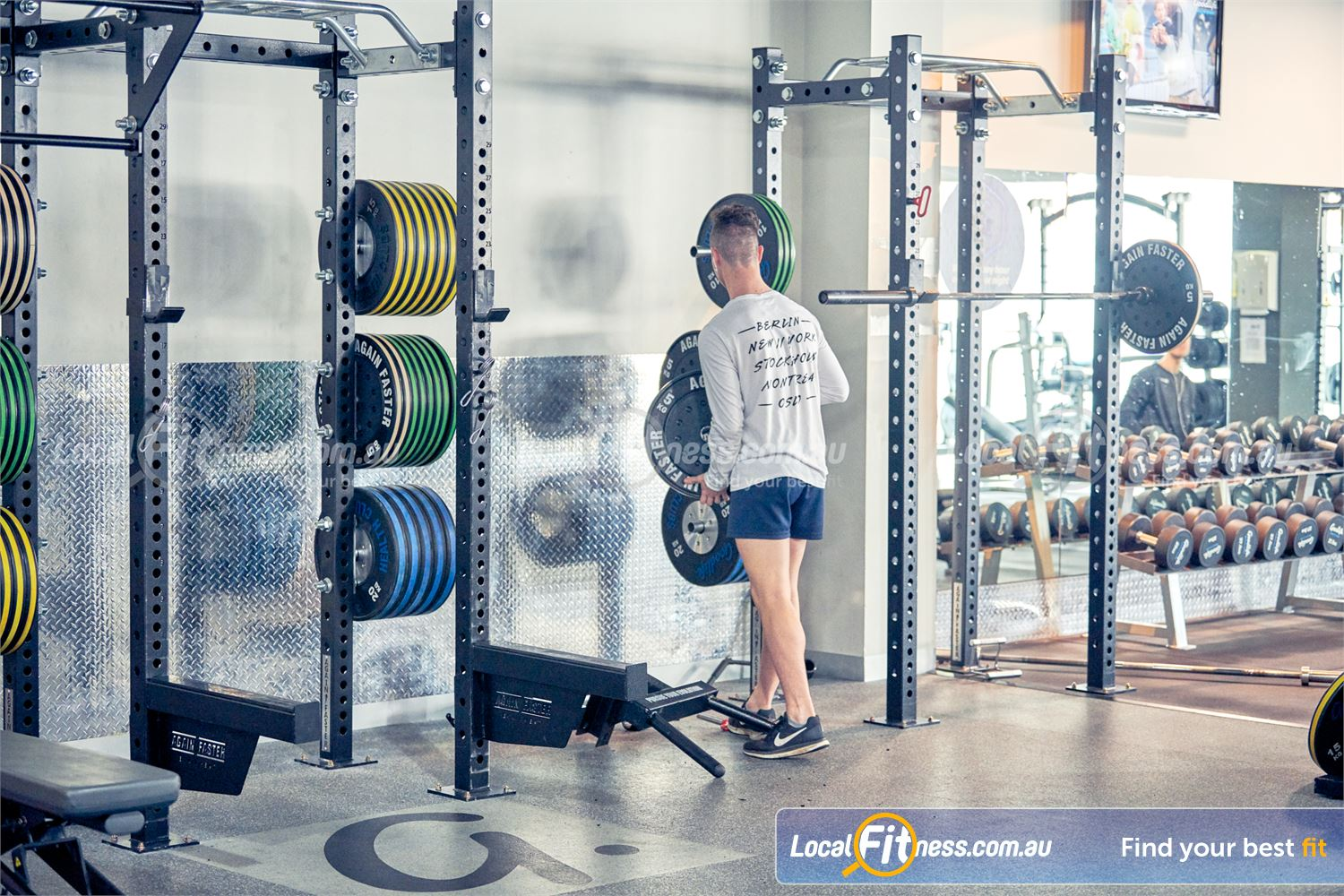 Goodlife Health Clubs Knox City Near Knoxfield Fully equipped strength training area at Goodlife Knox City gym.