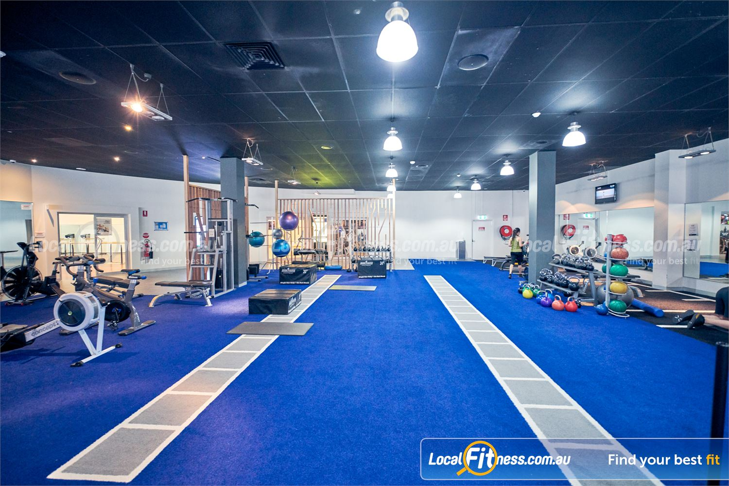 Goodlife Health Clubs Knox City Near Wantirna Spacious area to stretch and work your core.