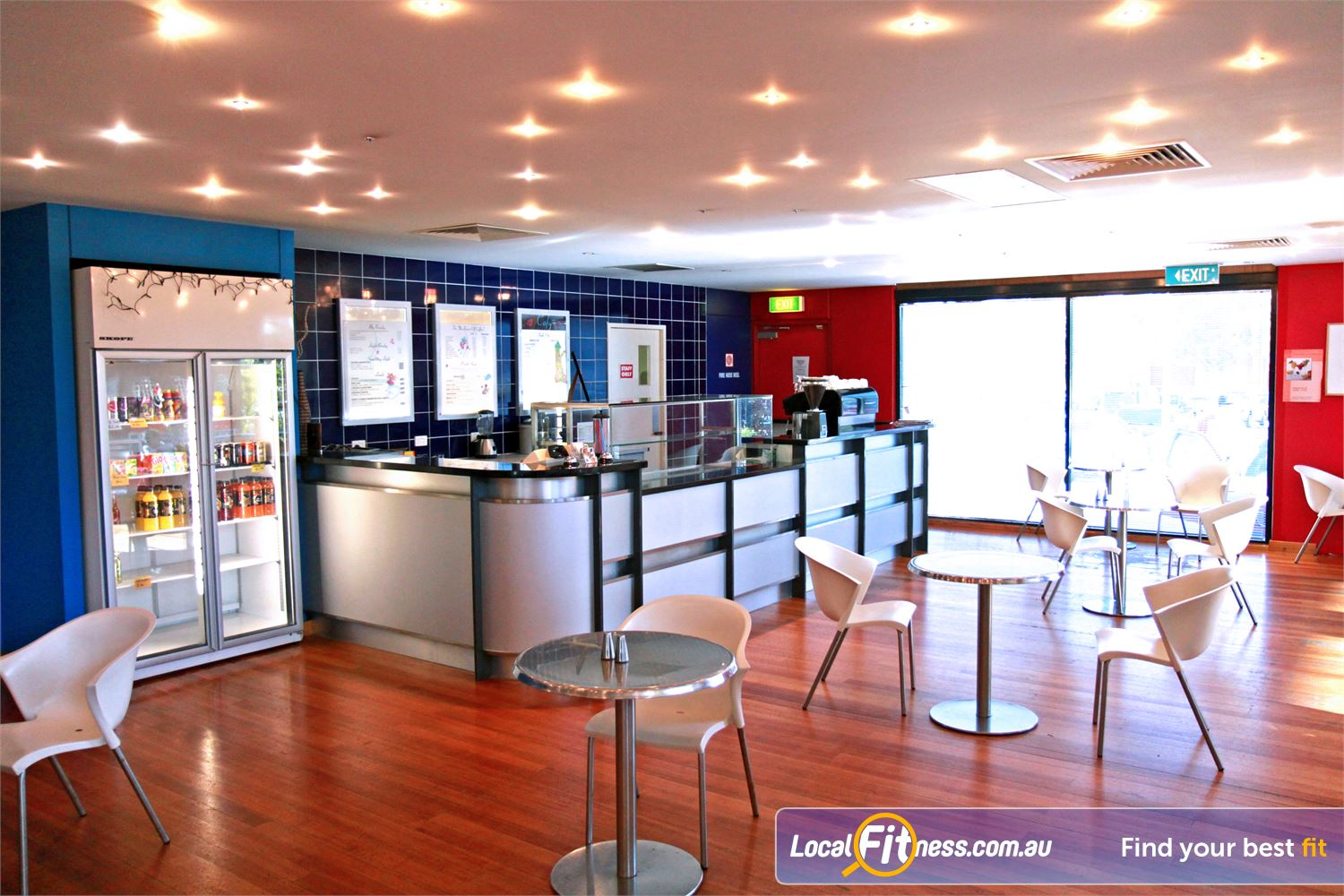 Goodlife Health Clubs Cannington On-site Cafe with radiant natural light and plenty of seating.