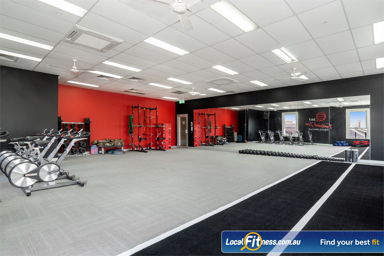 Equilibrium Health & Fitness 24/7 Near Carlton The Functional Zone with an indoor sled/sprint track.
