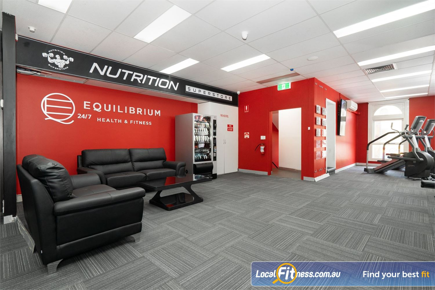 Equilibrium Health & Fitness 24/7 Near Parkville Relax and meet our community in our members lounge area.
