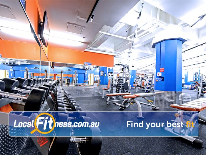 Plus Fitness 24/7 Darlinghurst Fully equipped with free-weights for strength training.