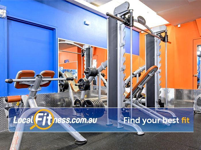 Plus Fitness 24/7 Darlinghurst Full squat rack, smith machine, plate loading machines and more.