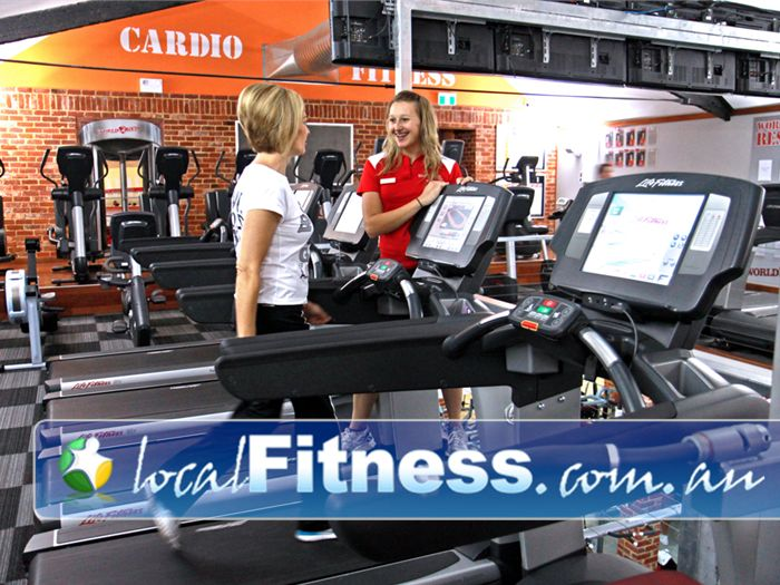 World Gym Adelaide Individual TV screens on all Life Fitness cardio equipment.