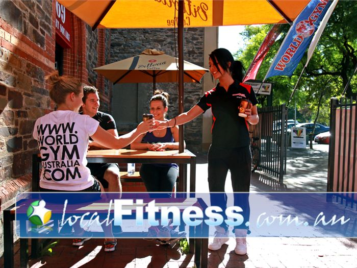 World Gym Adelaide Enjoy the beautiful outdoors among members and friends with our outdoor Cafe area.