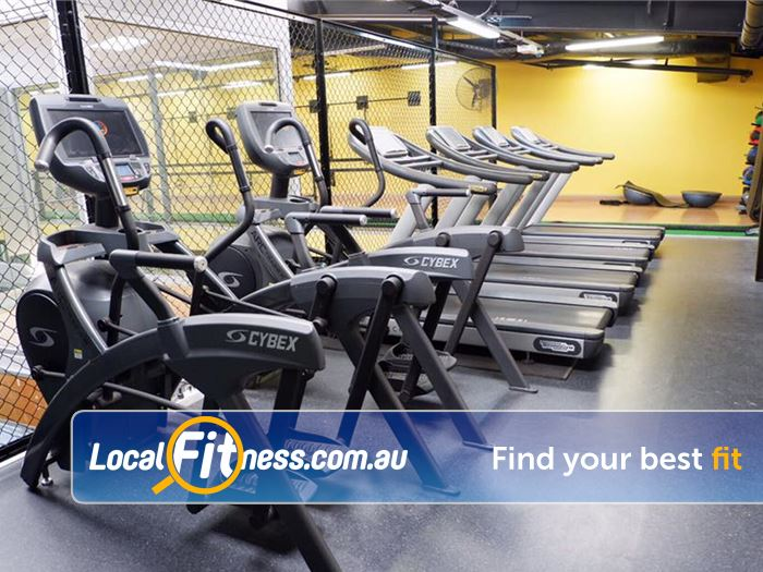 Trination Fitness 24/7 Gym Marrickville  | Fully equipped cardio area with treadmills, cross-trainers and
