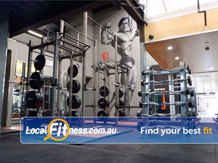 Trination Fitness 24/7 Near Moore Park Be inspired by the Arnold Schwarzenegger mural while you train.