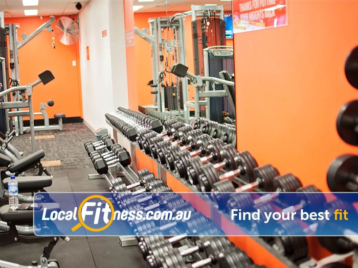 Stepz Fitness 24/7 Near Cherrybrook Fully equipped free-weights training zone.