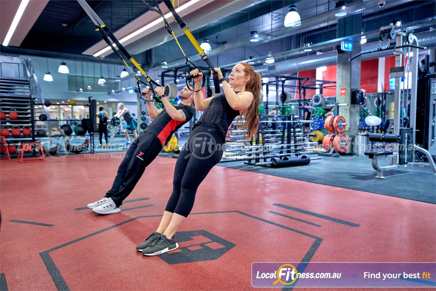 Fitness First Macquarie Ryde Work your core in our Macquariegym with TRX team training.