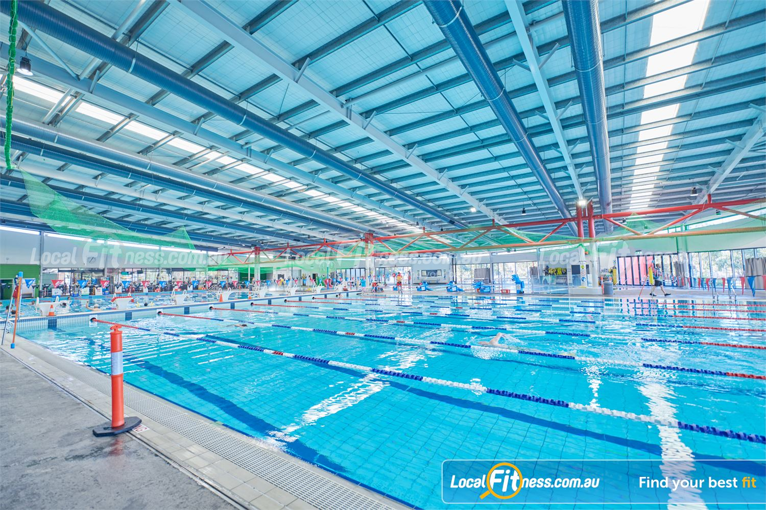 Maribyrnong Aquatic Centre Near Aberfeldie a movable pool boom divides the pool increasing from 8 to 16 lanes.