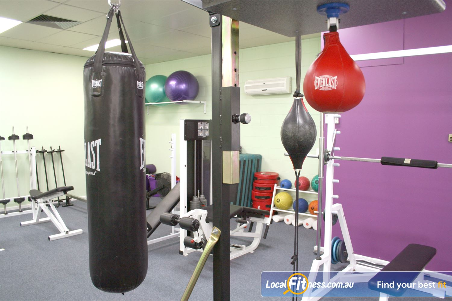 Berry Fitness Centre Edithvale Heavy bag, floor to ceiling ball, speed ball and more.