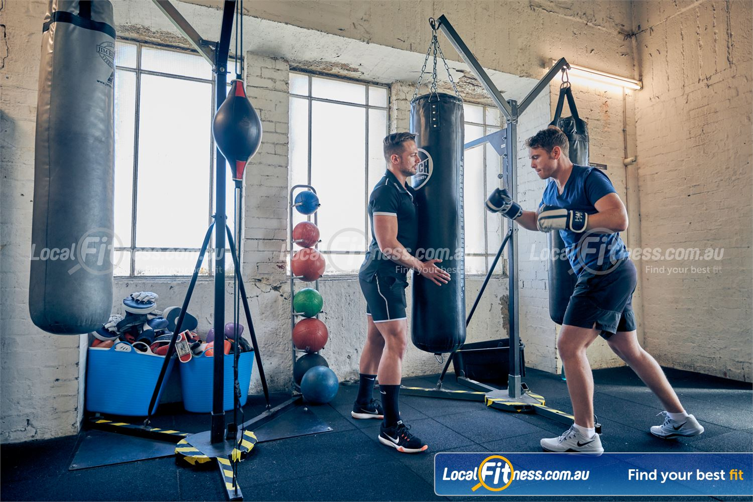 Goodlife Health Clubs Near Windsor Fully equipped with heavy bags, floor to ceiling balls and more.
