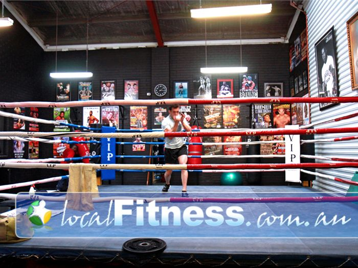 Doherty's Gym Near Coburg The fully equipped Brunswick boxing ring.