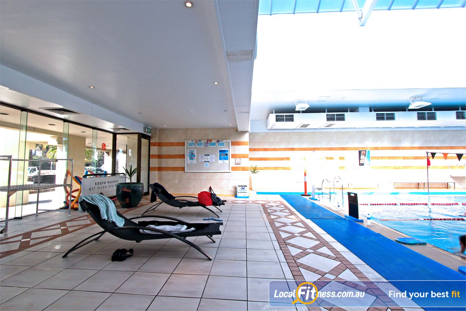 South Pacific Health Clubs Near Balaclava Private members lounge area offering magnificent views of the bay.