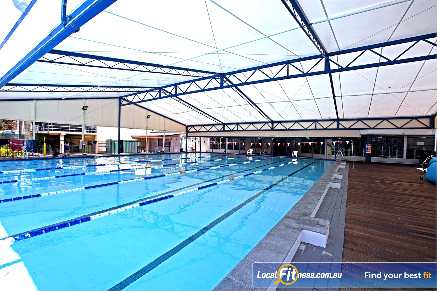 Goodlife Health Clubs Near Lota Our Alex Hill swimming pool is great for lap lane swimming all year round.