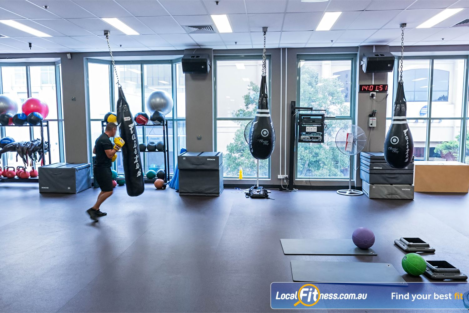 Fitness First Platinum Spring St Bondi Junction The dedicated Bondi boxing area located in the top level freestyle area.