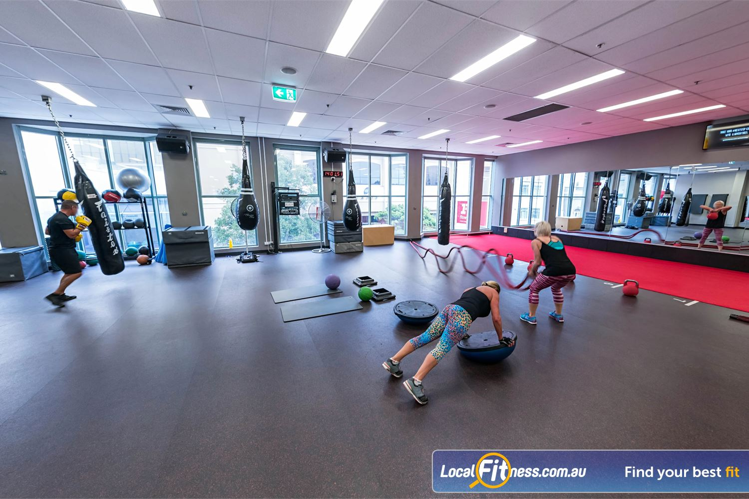 Fitness First Platinum Spring St Near Bellevue Hill The top level freestyle area includes battle ropes, indoor sled track, heavy boxing bags and more.