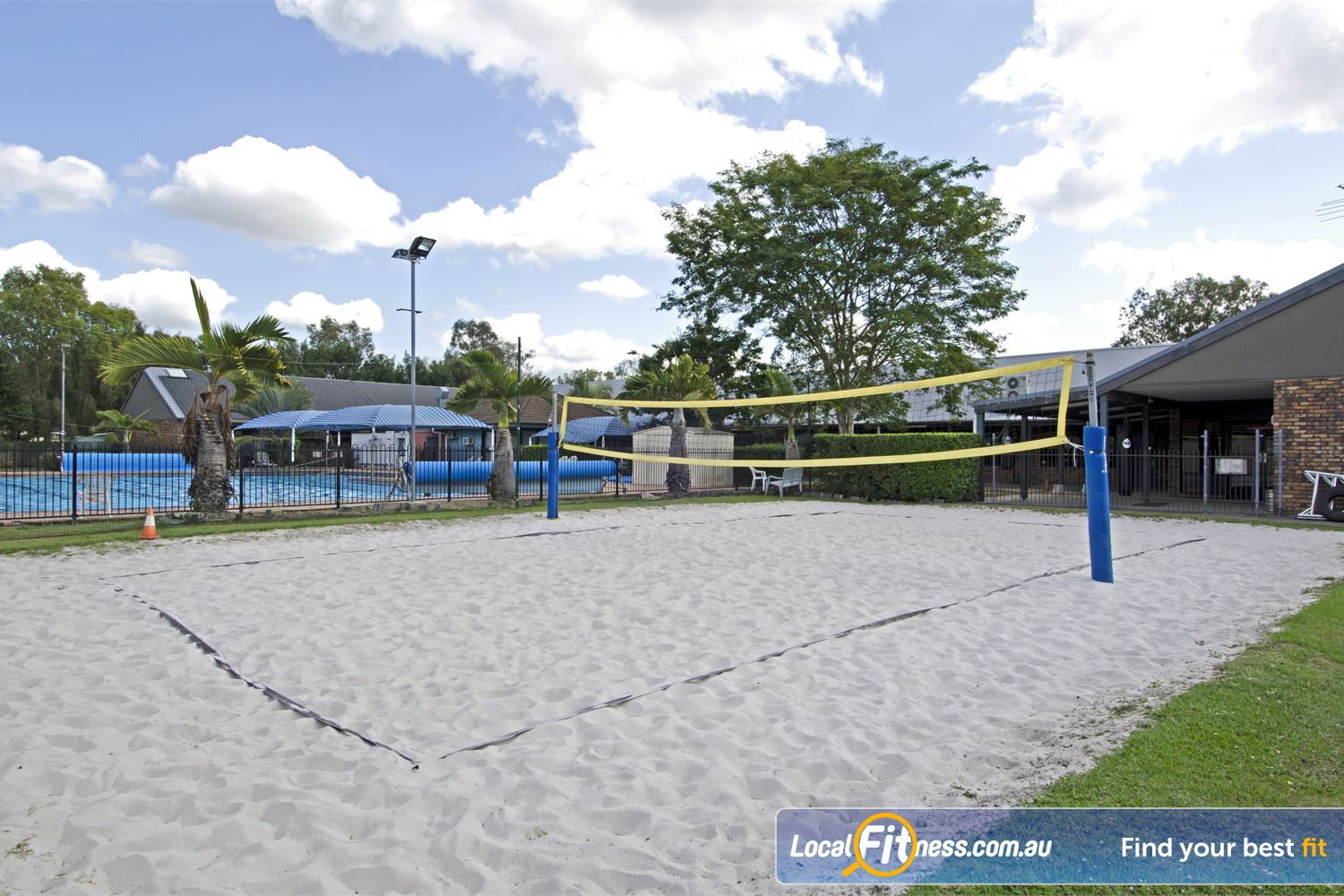 Goodlife Health Clubs Near Zillmere A recreational beach atmosphere with sunshine, real sand and a fun beach volleyball court.