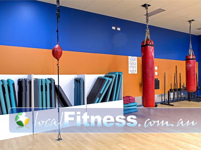 Plus Fitness Health Clubs Narellan The Narellan boxing area inc. boxing bags and floor to ceiling balls.