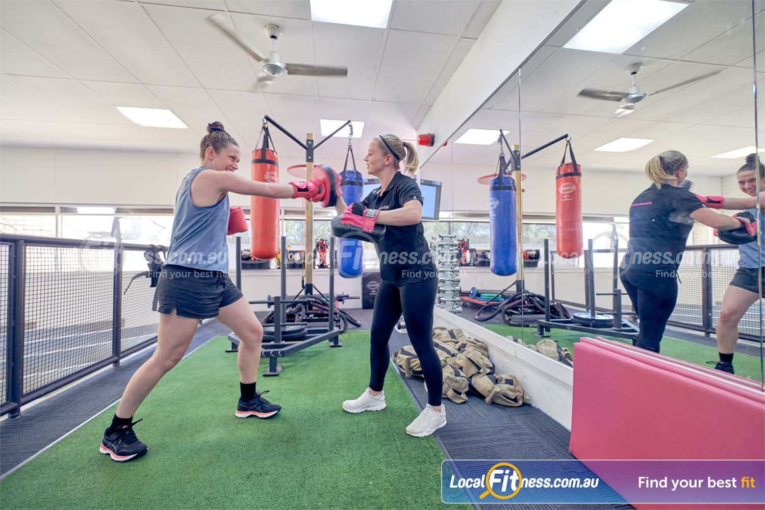 Fernwood Fitness Tullamarine The Tullamarine boxing space includes heavy bags, speedball, pad work and more.
