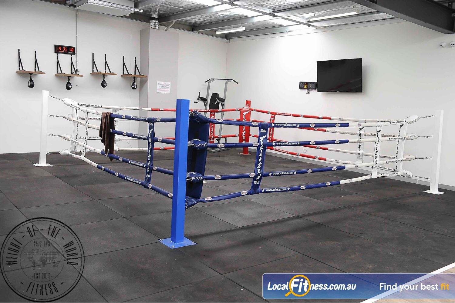 Weight of the World Fitness Altona North Weight of the World Fitness includes a professional boxing ring.