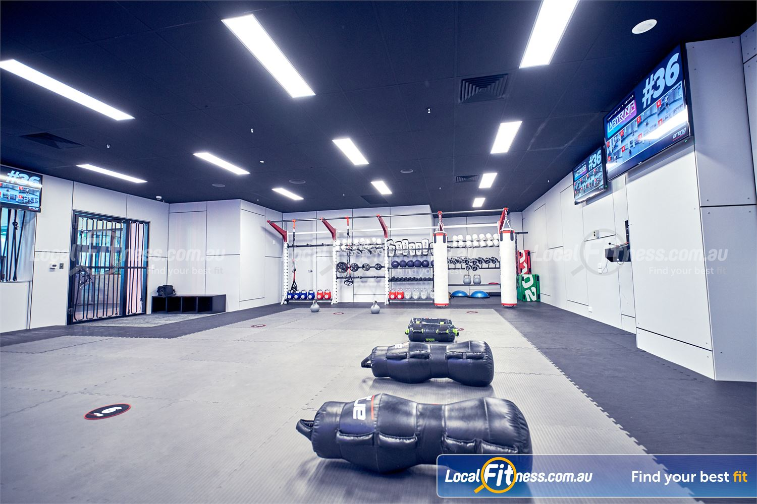 Goodlife Health Clubs Near Varsity Lakes Watch the next exercise on the large screen at Robina Arena MMA.
