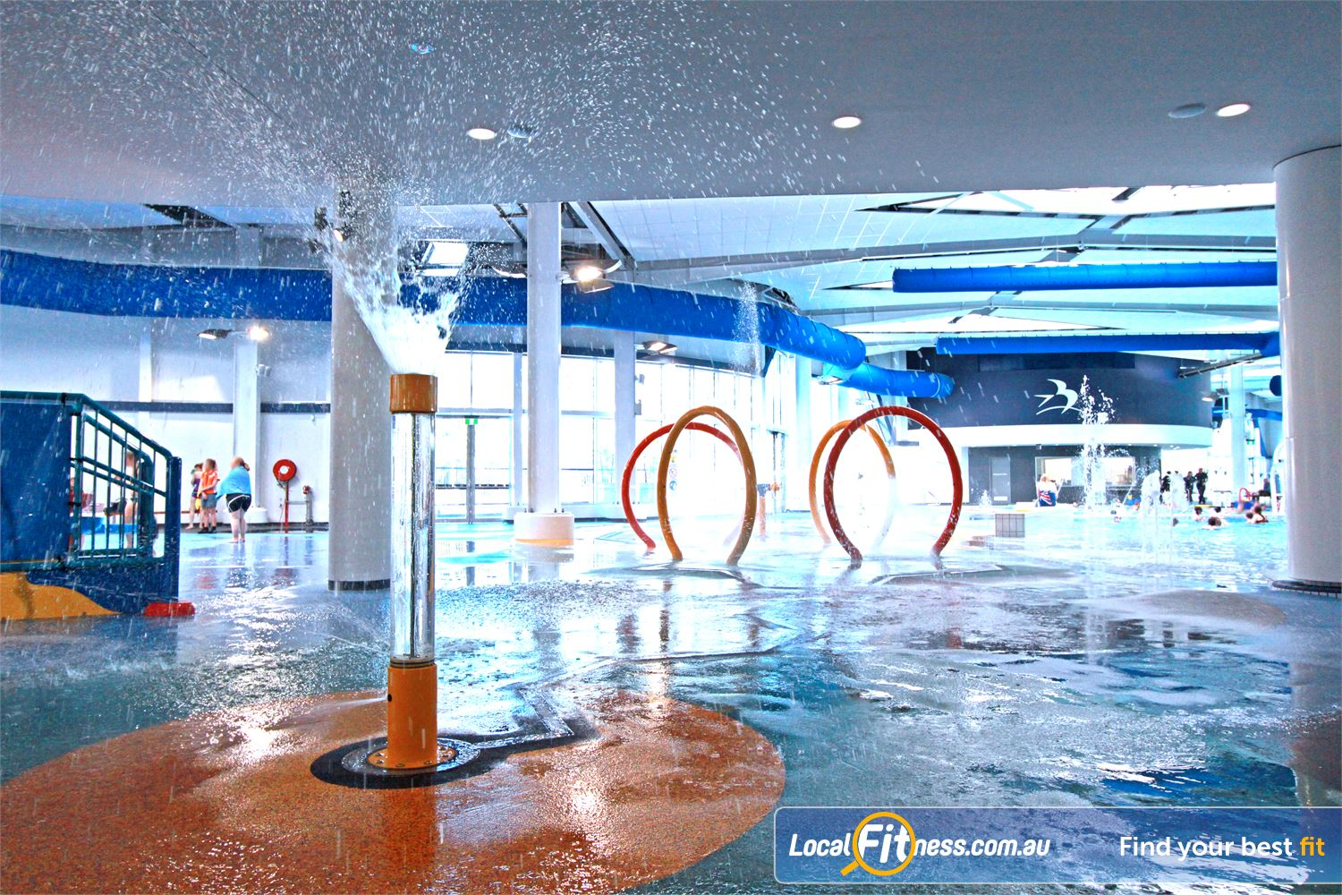 WaterMarc Aquatic & Leisure Centre Near Saint Helena Water sprays, geysers and waterfalls.