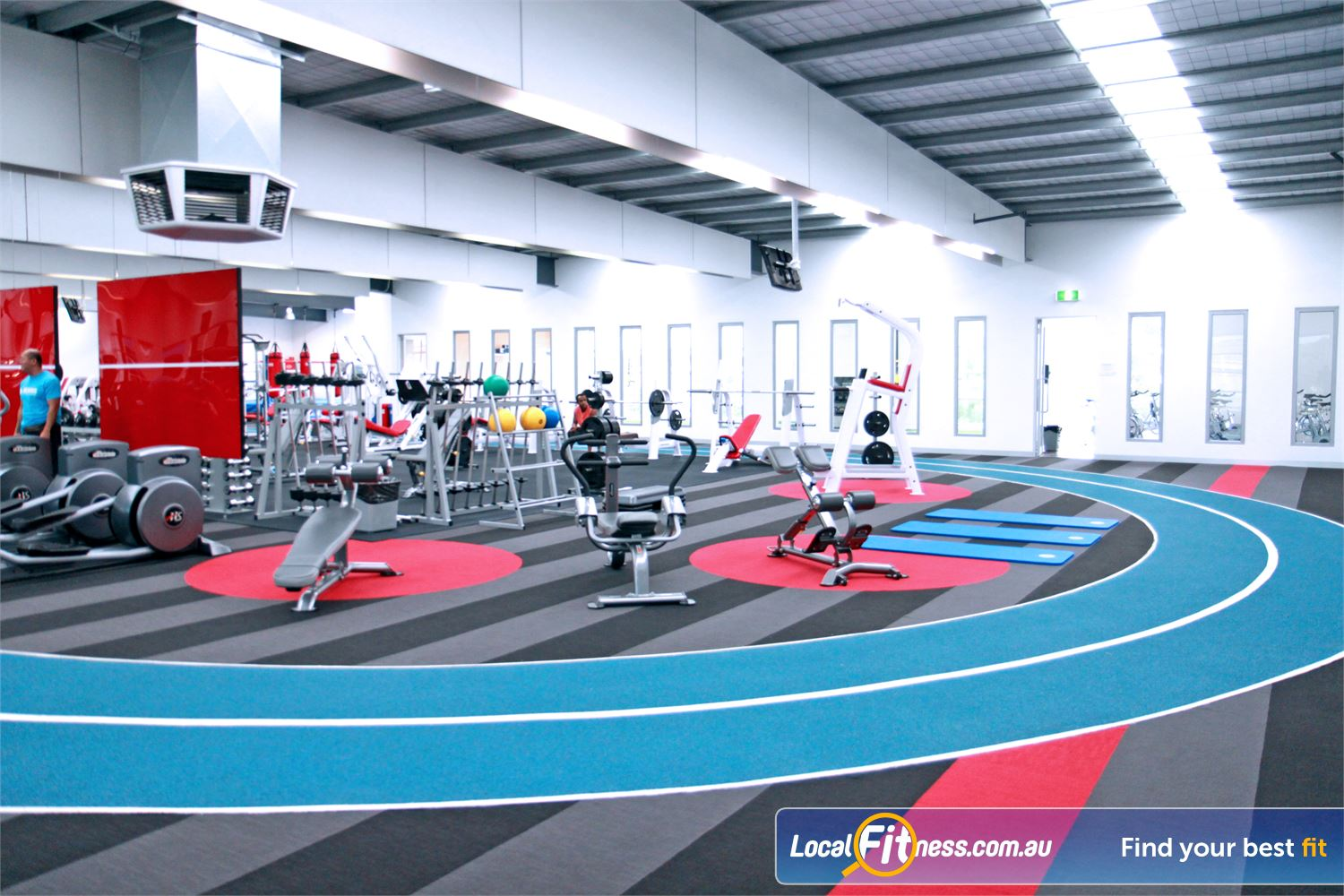 Genesis Fitness Clubs Maidstone 120 m indoor running track circling the entire Maidstone gym floor.