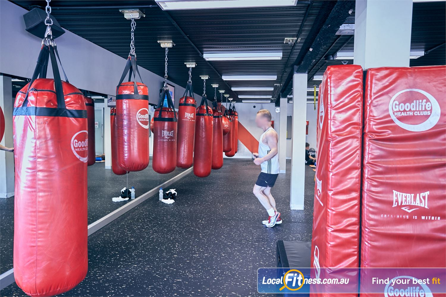 Goodlife Health Clubs Cross Roads Westbourne Park Hanging heavy duty boxing / kick boxing bags.