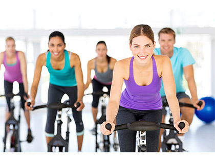 Cycle 40 – 45 mins resistance cycling to music. Gives a