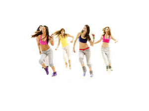 Zumba Latin rhythyms fused together with to follow moves. It's fun